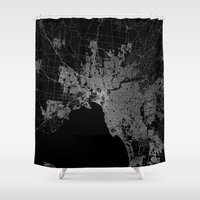melbourne Shower Curtains featuring Melbourne map Australia by Line Line Lines