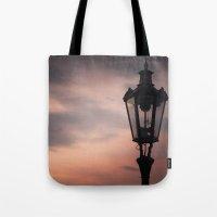 lantern Tote Bags featuring Victorian Lantern by Maria Heyens