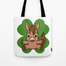 Horse On 4 Leaf Clover - St. Patricks Day Animal Tote Bag