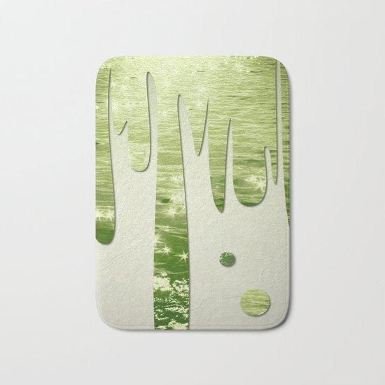 Glittery Green Ocean Dripping On Cream Textured Wall Bath Mat