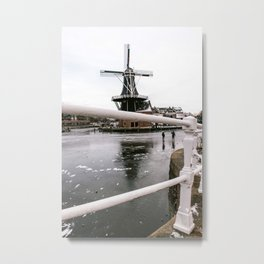 Iconic mill 'The Adrian' III in Haarlem alongside a frozen Spaarne canal | Ice skating | Reflections | Architectural fine art print Metal Print