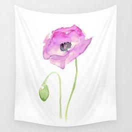 Flower Purple Poppy Floral Watercolor Wall Tapestry