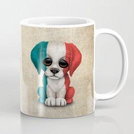 Cute Puppy Dog with flag of France Coffee Mug