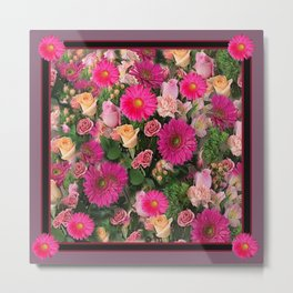 PINK FLOWERS GARDEN PUCE ART PATTERNS Metal Print