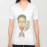 smoking V-neck T-shirts featuring SMOKING by t i t i l l a