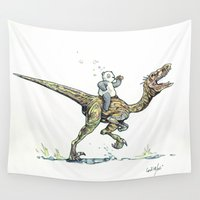 drunk Wall Tapestries featuring Drunk Panda riding Velocirraptor by Creative Soul