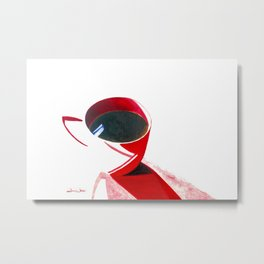 Lipstick Coffee Metal Print