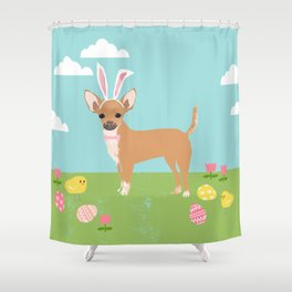 Chihuahua dog breed easter bunny dog costume pet portrait spring chihuahuas Shower Curtain