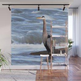 Watercolor Bird, Great Blue Heron 02, Rappahanock River, Virginia Wall Mural