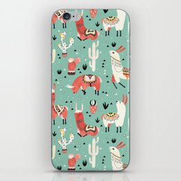 Llamas and cactus in a pot on green iPhone Skin