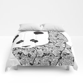Panda Bear With Roses Tattoo Pattern Comforters