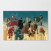 league Canvas Prints featuring Justice League by David M. Buisán