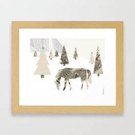 Winter Woods with Horse Framed Art Print