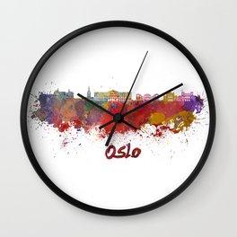 Oslo skyline in watercolor Wall Clock