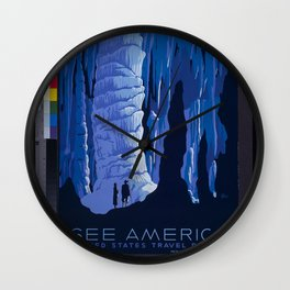 Vintage Travel Poster - See America Blue Wall Clock