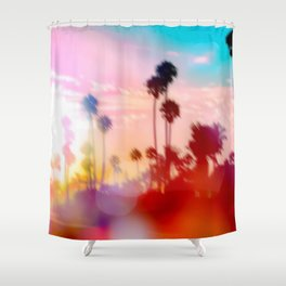 palm tree with sunset sky and light bokeh abstract background Shower Curtain