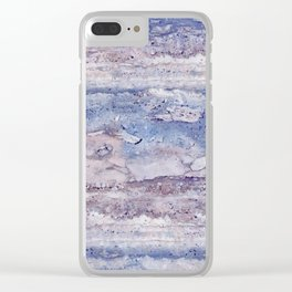 Blue lilac marble Clear iPhone Case