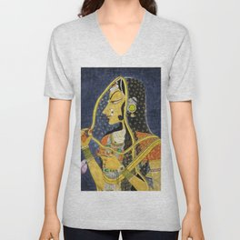 Bani Thani female portrait painting in traditional Rajasthani, the Mona Lisa of India by Nihal Chand Unisex V-Neck