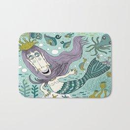 Quirky Mermaid with Sea Friends Bath Mat