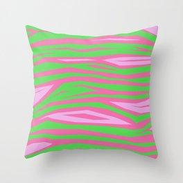 Punky Pink And Green Stripy Animal Print Throw Pillow