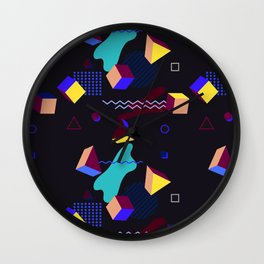 Memphis group inspired 80s pattern Wall Clock