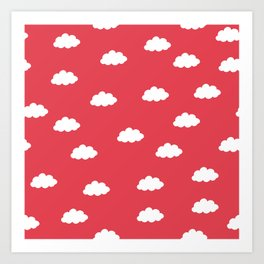 White clouds in red background Art Print