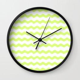 Lime Green zig zag pattern Wall Clock