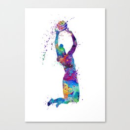 Volleyball Girl Setter Colorful Watercolor Art Canvas Print
