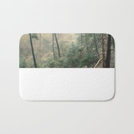 """Into the woods"". Wandering into the fog Bath Mat"