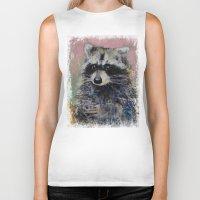 raccoon Biker Tanks featuring Raccoon by Michael Creese