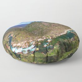 River going down the mountain (landscape) Floor Pillow