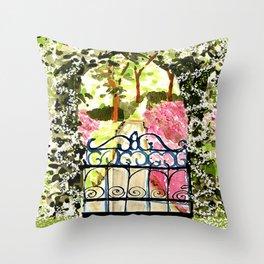 The Secret Garden Gate Throw Pillow