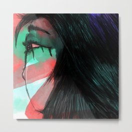 Girl with Tears Metal Print