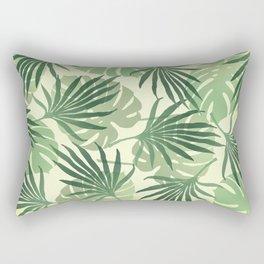 Palm leaves pattern green light yellow  Rectangular Pillow