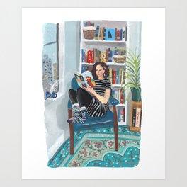 Shelfie Selfie Art Print