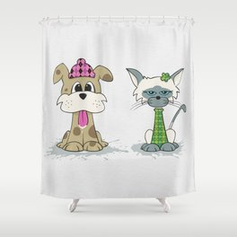 Dylan Dog and Clarence Cat Shower Curtain