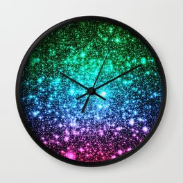 glitter Cool Tone Ombre (green blue purple pink) Wall Clock