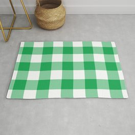 Green Gingham Pattern Rug