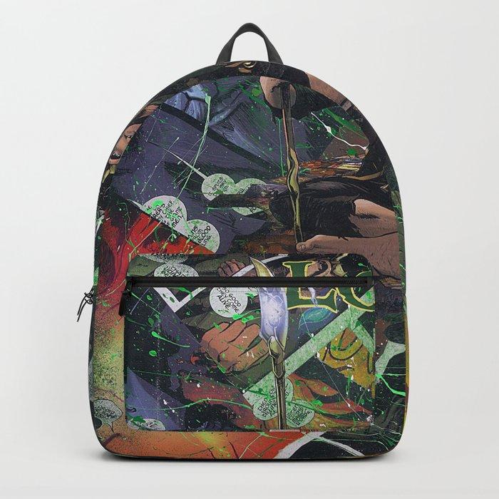 Loki God of Mischief Comic Art Collage Backpack