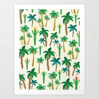 palm Art Prints featuring palm by Ceren Aksu Dikenci