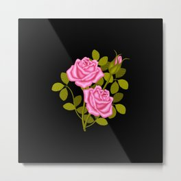 Painted Pink Roses Metal Print