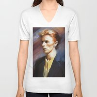 bowie V-neck T-shirts featuring Bowie by Cristina Sandia
