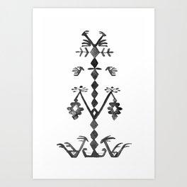Tree of Life Black White Tribal Ethnic Kilim Motif Art Print