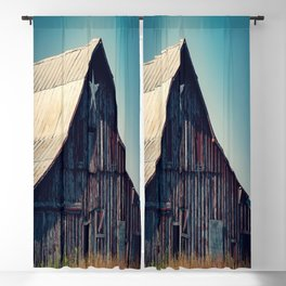Star Bright - Old Rustic Red Barn With Painted Star on Summer Day in Oklahoma Blackout Curtain