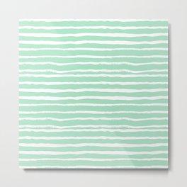 Mint stripes painted stripe pattern minimal nursery gender neutral Metal Print