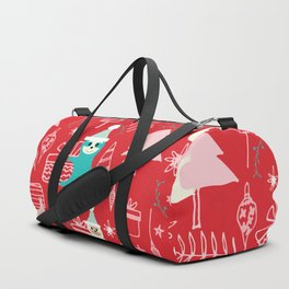 Santa Claus Cute Sloth Christmas pattern Red #christmas Duffle Bag