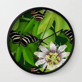 Zebra Longwing visits Passionflower Vine Wall Clock