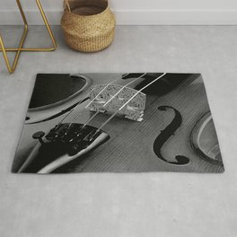 Strings - Black and White Violin Part One A621 Rug
