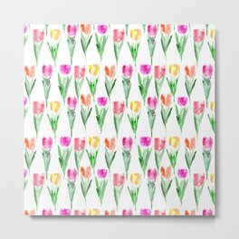 Watercolor tulips from Holland Metal Print