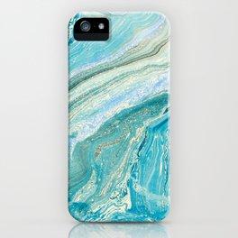 Blue Liquid Marble iPhone Case